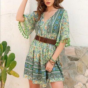 Boho floral print fringe trim dress- GREEN